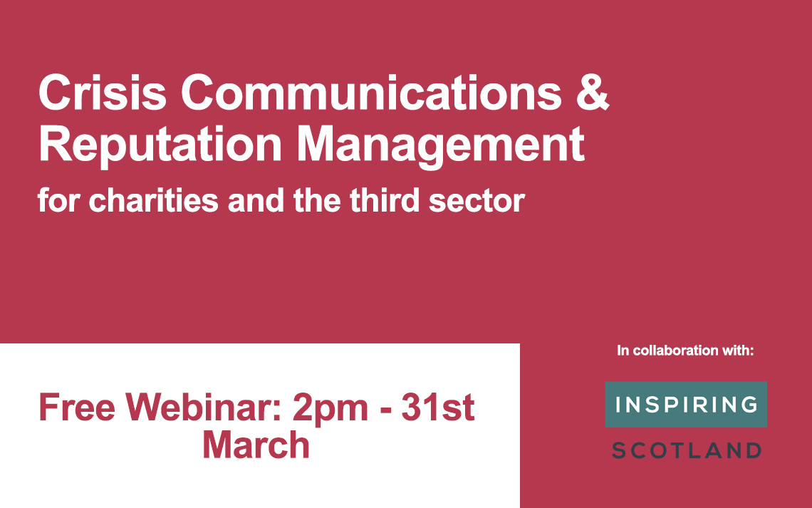 Free Webinar: Crisis Communications & Reputation Management for charities and the third sector
